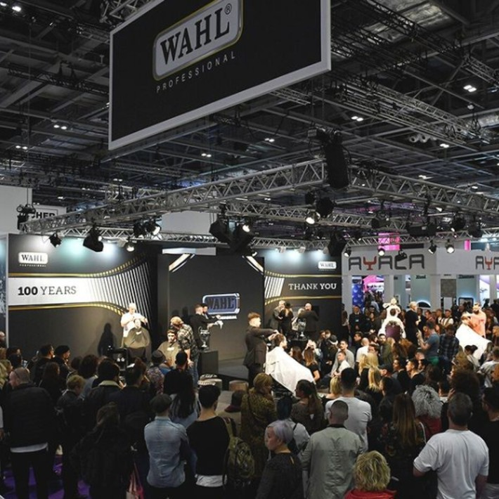 Wahl stage at Salon announcing winners of barber and barbershop of the year