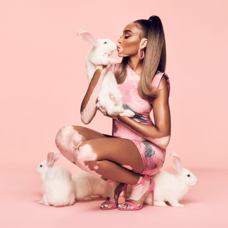 Winnie Harlow with rabbits for John Paul Mitchell Systems Cruelty-Free pledge