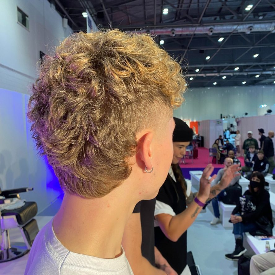 curly mullet debuted on Modern Barber stage at Salon International